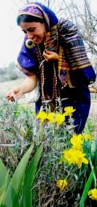 Our spring 2013 volunteer, Prtvi, a Hindu nun, smelling flowers