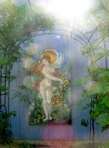 Goddess of Dandelion mosaic in graceful rain